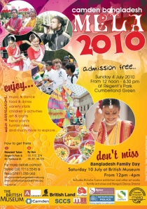 Bangladesh Mela 2010 Poster. Saturday 4 July from 12noon in Regent's Park