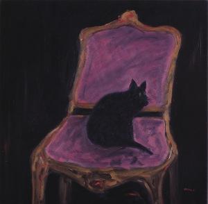 Michel Maly 'Sur le fauteil un chat noir' 120cm x 120cm. Oil on Canvas