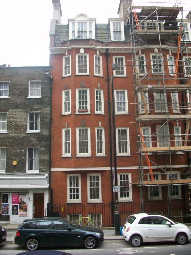 The eastern end 148 New Cavendish Street, Fitzrovia, where once stood number 7 Upper Marylebone Street where Thomas Paine once lived.