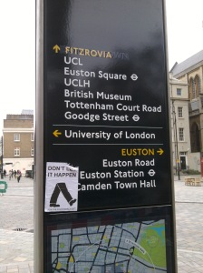 Legible London monolith at Byng Place, Bloomsbury with corrected Fitzrovia label and unique artwork.