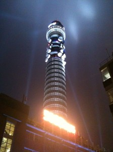 All lit up. For the past couple of evenings the BT Tower has been testing its light show in preparation for tonight's event.