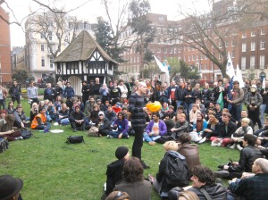 UK Uncut entertained people with comedy and music in Soho Square