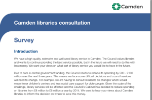 Survey about libraries spending in Camden