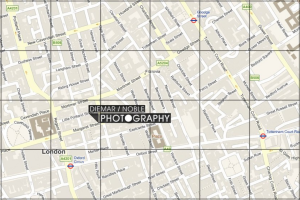 Map showing location of gallery and surrounding streets