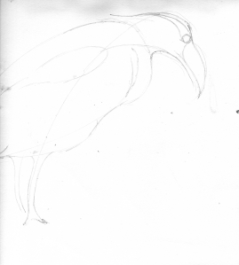 Drawing of a heron.