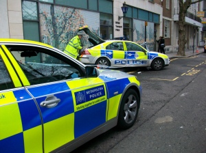 Police cars outside police station.