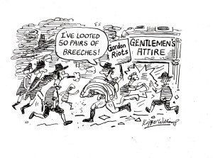 Cartoon showing 18 century rioters