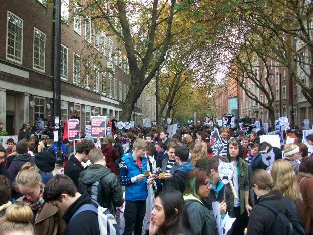 students gather outside the University of London Union