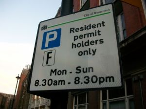 Resident parking sign.