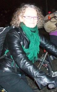 Jenny Jones riding bicycle