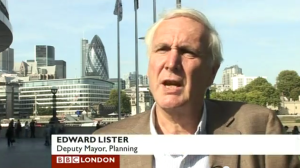 Sir Edward Lister speaking on BBC London.