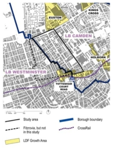 Map of Fitzrovia showing area of study and adjacent growth areas.