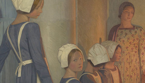 Painting of young women waiting in line.