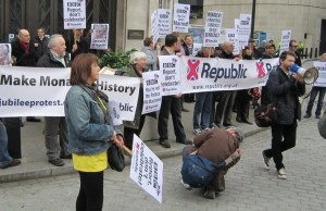 Members of anti-monarchy group protesting outside Broadcasting House.