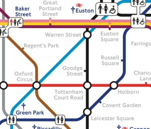 Underground map showing tollets at stations