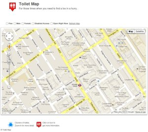 Map of toilets around Goodge Street.