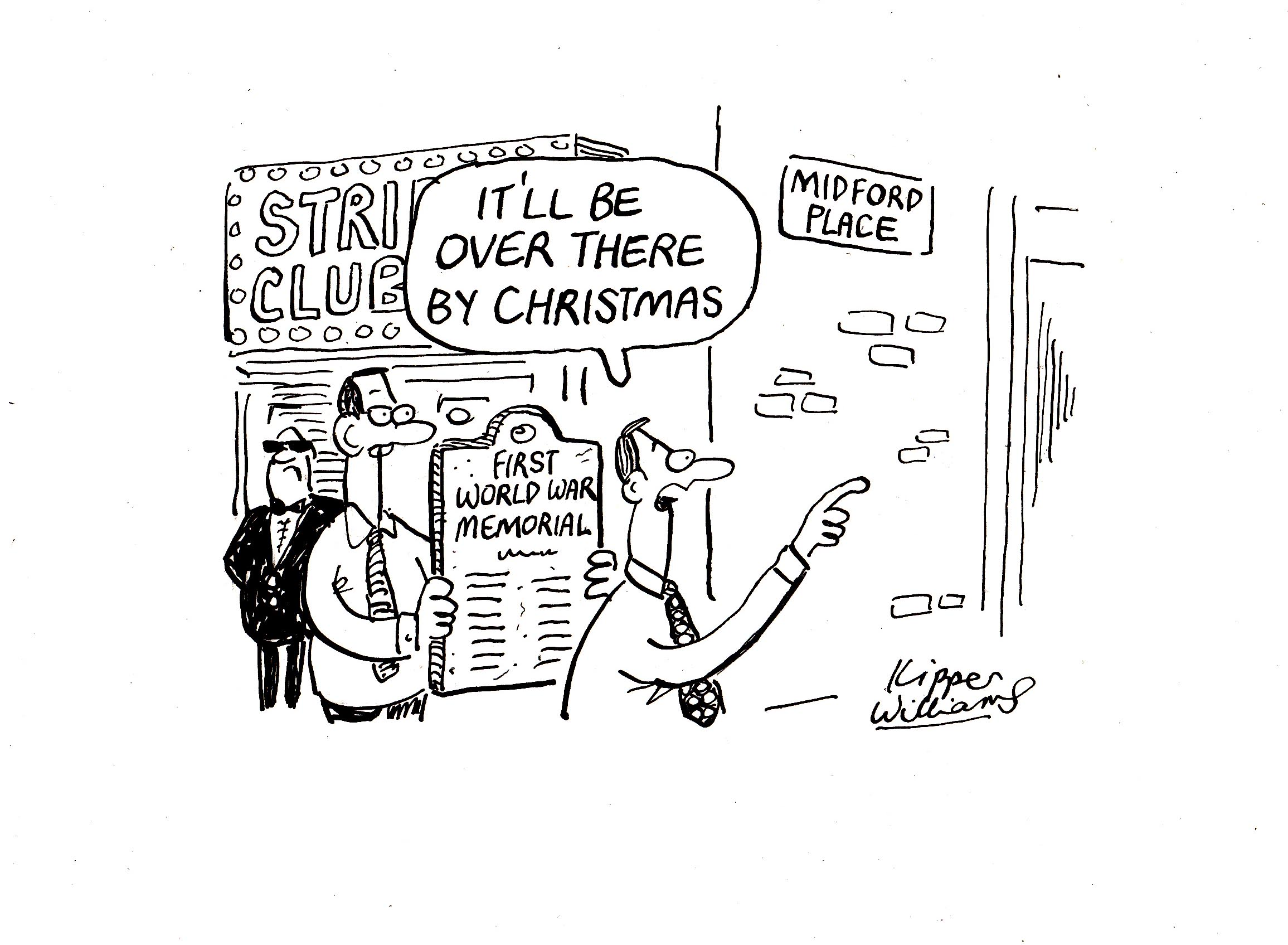 "Cartoon with strip club bouncers. Balloon says: ""It's be over there by Christmas"""
