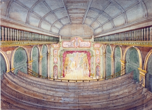 Watercolour of inside of cinema.