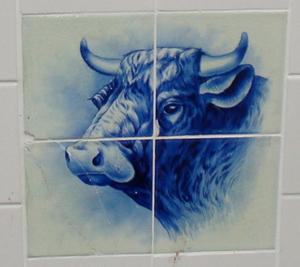 A ceramic tiles with bull's head.