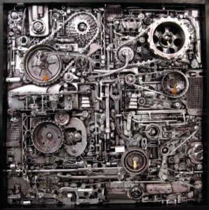 Artwork made from machine parts.