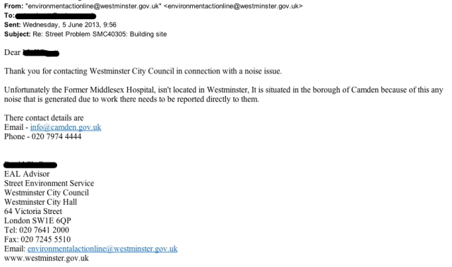 Email from Westminster City Council about location of former Middlesex Hospital.