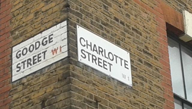 Signs for Goodge Street and Charlotte Street.