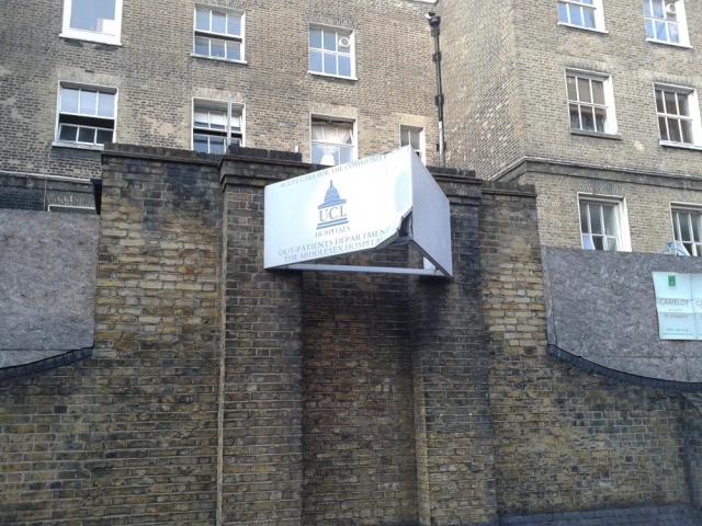 Front of former hospital building.