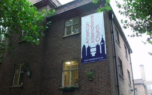 Corner of church building.