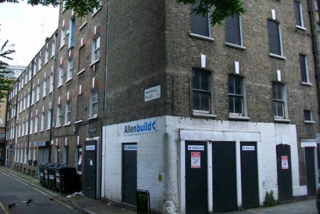 Corner of building.