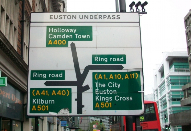 Euston underpass sign.