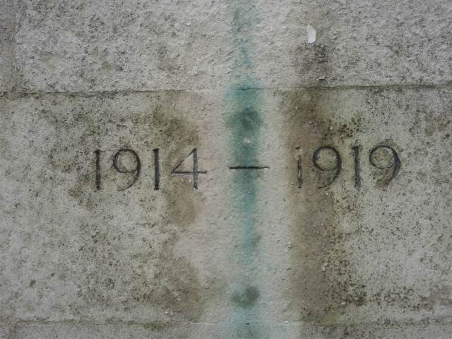 Date on stone memorial 1914-1919