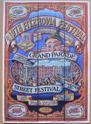 Poster advertising Fitzrovia Festival 1973.