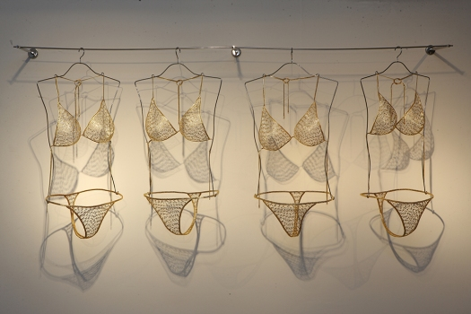 Bikini made from safety pins.