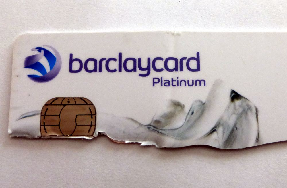 Cut up bank card.