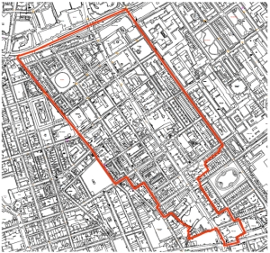 Map of Fitzrovia East neighbourhood area.
