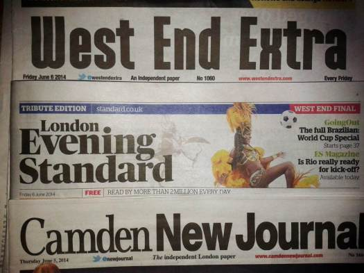Mastheads of London newspapers.