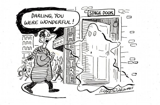 "Cartoon of man saying ""Darling, you were wonderful!"" to ghost at stage door."