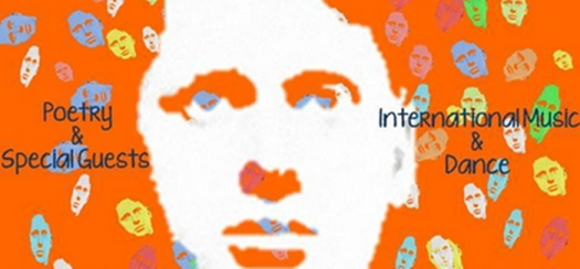 Part of a poster with image of Dylan Thomas.