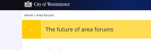 Westminster City Council area forum web page.