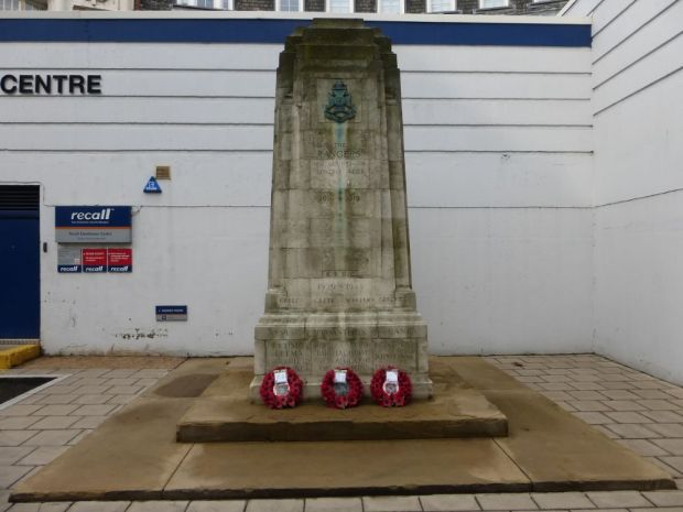 Wreaths in memory of Rangers and King's Royal Rifle Corps.