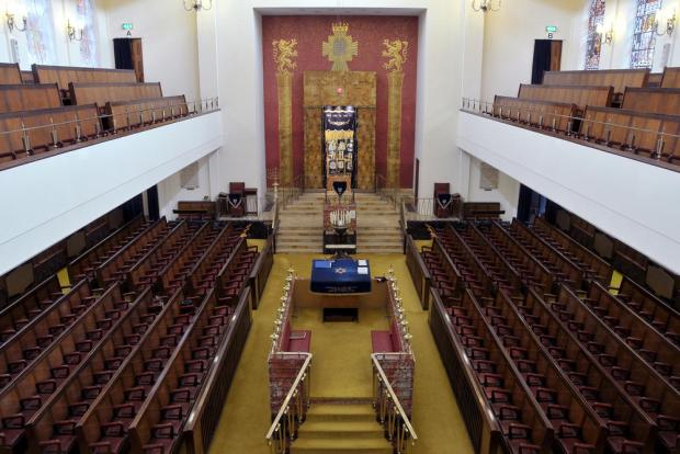 Inside of synagogue.