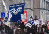 Oil painting depiction street demonstration.