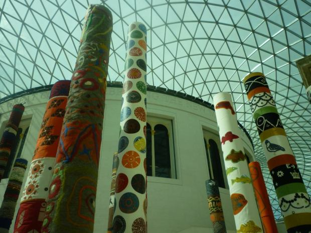 Textile artworks on display at British Museum.