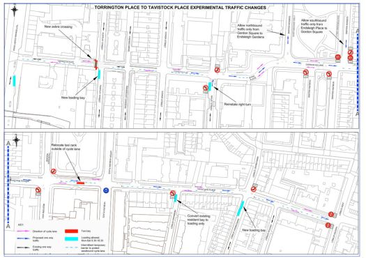 Map of traffic changes.