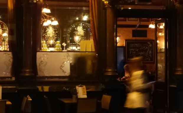 Pub at night.