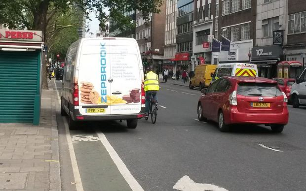 Friday morning. Van blocks cycle lane forcing riders our into the road.