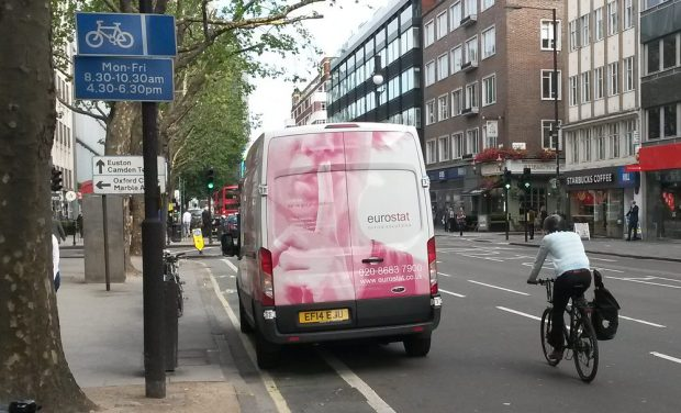Van blocks cycle lane.