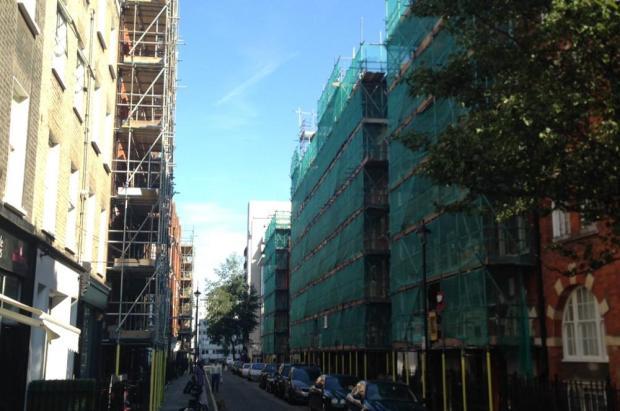 Street scene with scaffolding.
