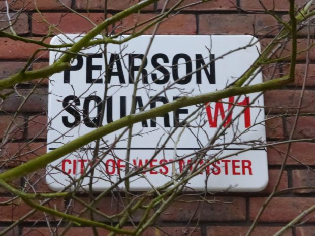 Street sign saying Pearson Square W1, City of Westminster.