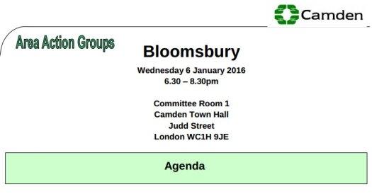 Bloomsbury Area Action Group, 6 Janaury 2016.